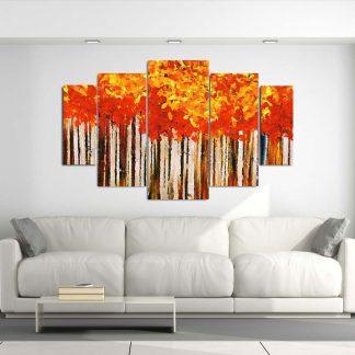 Πεντάπτυχος πίνακας σε καμβά Fall Trees