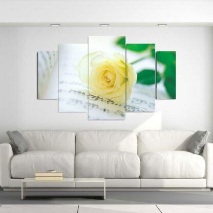 Πεντάπτυχος πίνακας σε καμβά κίτρινο τριαντάφυλλο