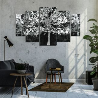 Πενταπτυχος πινακας σε καμβα Λευκά δέντρα 1.50Χ90