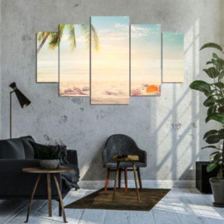 Πεντάπτυχος πίνακας σε καμβά ονειρική παραλία