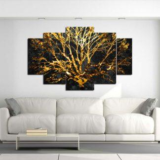 Πενταπτυχος πινακας σε καμβα Χρυσό δέντρο 1.50Χ90