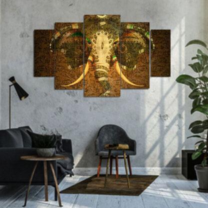 Πεντάπτυχος πίνακας σε καμβά Vintage Elephant