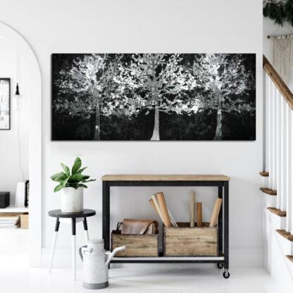 Πανοραμικος πινακας σε καμβα Λευκά δέντρα