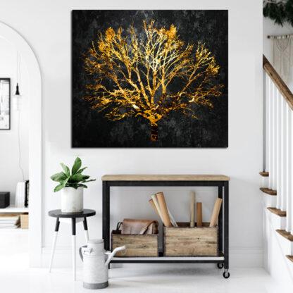 Τετράγωνος πίνακας σε καμβά Χρυσό Δέντρο