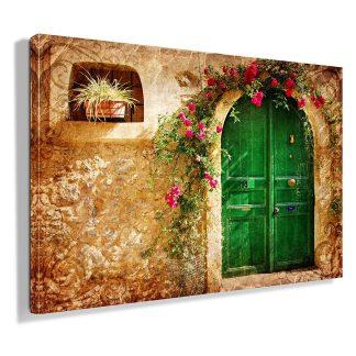 πρασινη-πόρτα-σε-πετρινο-σπίτι-πίνακας-σε-καμβα