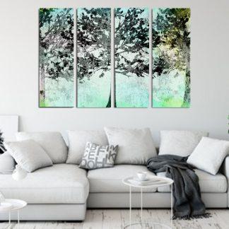 Τετράπτυχος πίνακας σε καμβά Mint Forest