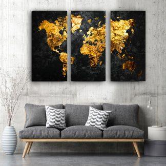 Τρίπτυχος πίνακας σε καμβά παγκόσμιος χάρτης Pure Gold