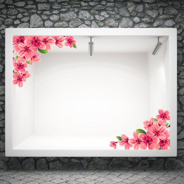 Αυτοκόλλητο βιτρίνας φούξια λουλούδια