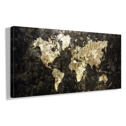 Πανοραμικος πινακας σε καμβα Grunge world map