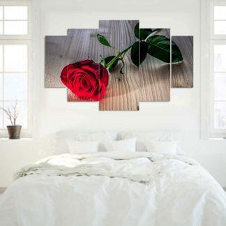 Πεντάπτυχος πίνακας σε καμβά red rose