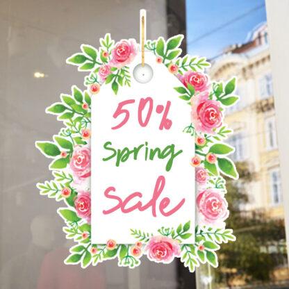 Αυτοκόλλητο βιτρίνας ανοιξιάτικο εκπτώσεων Spring sales No2