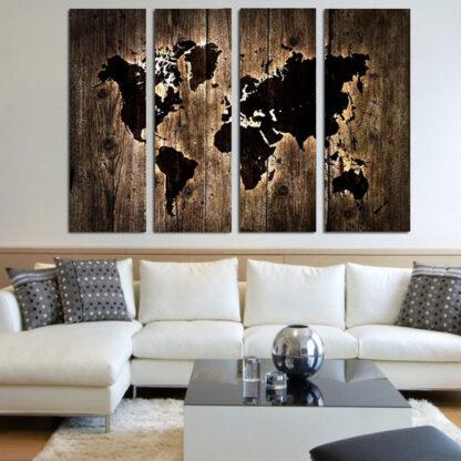 Τετράπτυχος πίνακας σε καμβά Wooden world map