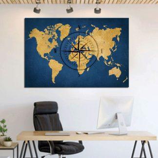 Πίνακας σε καμβά χάρτης με πυξίδα σε μπλε φόντο