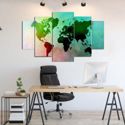 Πενταπτυχος πινακας σε καμβα παγκόσμιος χάρτης πολύχρωμος 1.50Χ90