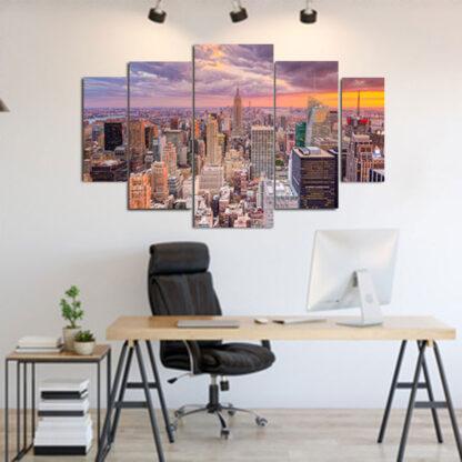 Πενταπτυχος πινακας σε καμβα New York Sunset 1.50Χ90