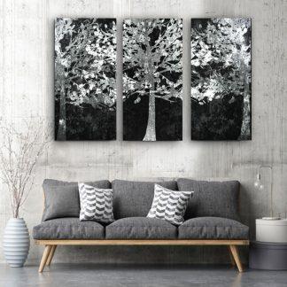 Τρίπτυχος πίνακας σε καμβά Λευκά δέντρα