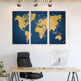 Τρίπτυχος πίνακας σε καμβά παγκόσμιος χάρτης σε μπλε φόντο