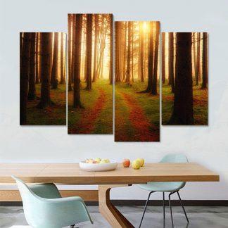 Τετράπτυχος πίνακας σε καμβά 1Χ1.50 Forest Path