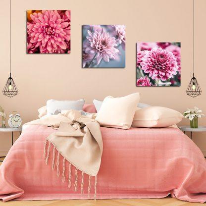 Τρίπτυχος πίνακας σε καμβά Floral