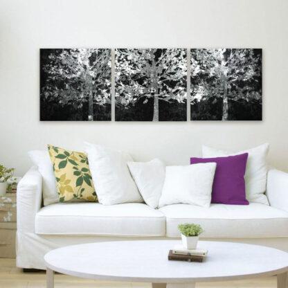 Τρίπτυχος πίνακας σε καμβά το λευκά δέντρα (White trees)