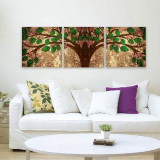 Τρίπτυχος πίνακας σε καμβά το δέντρο της ζωής (Tree Of life)