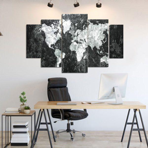Πενταπτυχος πινακας σε καμβα Grunge World Map 1.50Χ90
