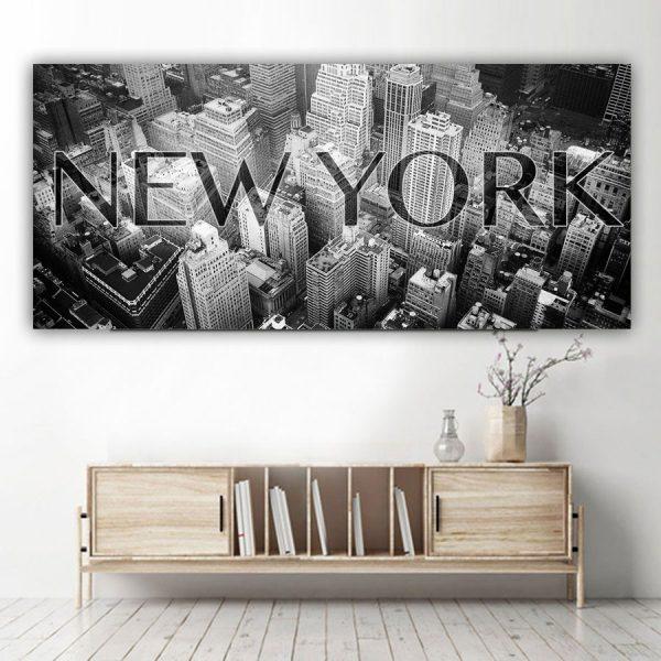 Πανοραμικός πίνακας σε καμβά New York πανοραμικός με λεκτικό