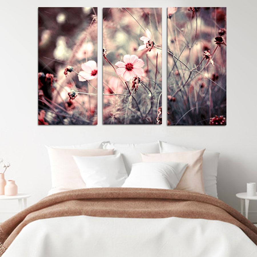 πινακας-σε-καμβα-ροζ-λουλουδια-τριπτυχος