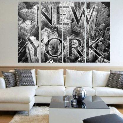Τετράπτυχος πίνακας σε καμβά New York με λεκτικό
