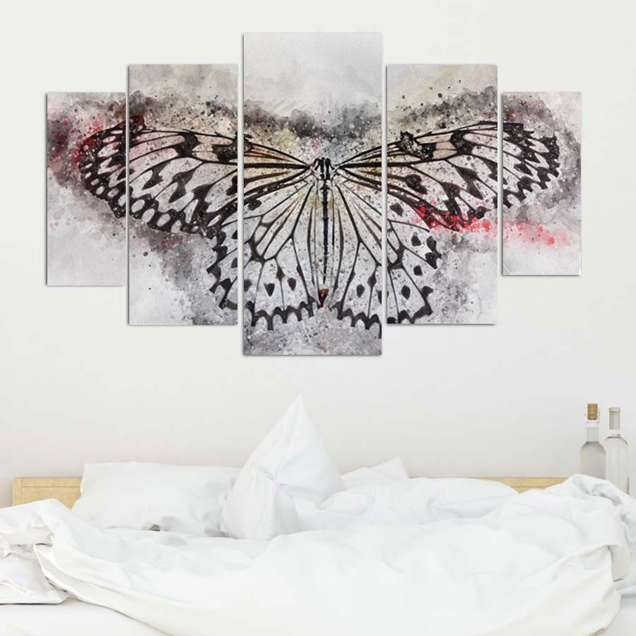 Πενταπτυχος πινακας σε καμβα Artistic Butterfly 1.50Χ90