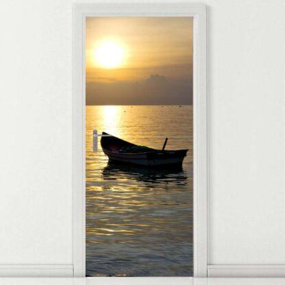 Αυτοκόλλητο πόρτας βάρκα στο ηλιοβασίλεμα