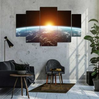 Πεντάπτυχος πίνακας σε καμβά η γη από το διάστημα