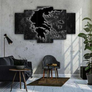 Πεντάπτυχος πίνακας σε καμβά χάρτης της Ελλάδας