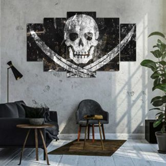 Πεντάπτυχος πίνακας σε καμβά Skull