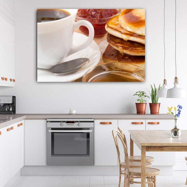 Πίνακας σε καμβά καφές τηγανίτες και μέλι