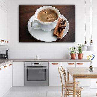 Πίνακας σε καμβά φλυτζάνι καφέ και κανέλα