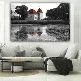 Πινακας σε καμβα λιμνη και σπιτακια ασπρομαυρο