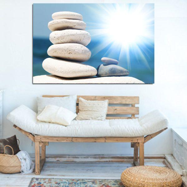 Πίνακας σε καμβά λευκά βότσαλα