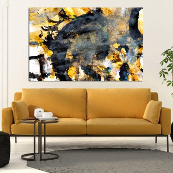 Πίνακας σε καμβά Abstract μαύρο κίτρινο