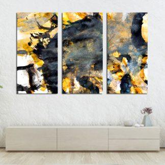 Τρίπτυχος πίνακας σε καμβά abstract κίτρινο μαύρο