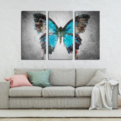 Τρίπτυχος πίνακας σε καμβά πεταλούδα