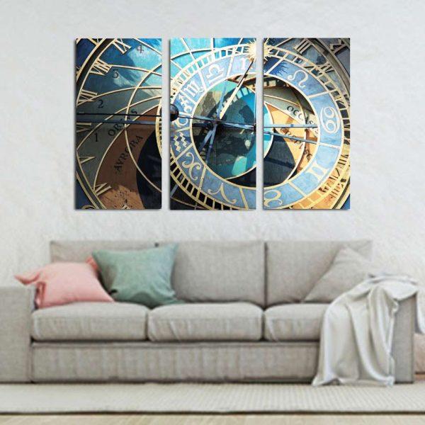 Τρίπτυχος πίνακας σε καμβά αστρονομικό ρολόι