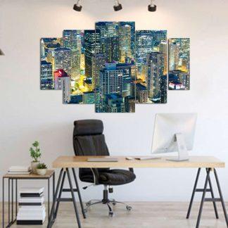 Πεντάπτυχος πίνακας σε καμβά φωτισμενοι ουρανοξυστες