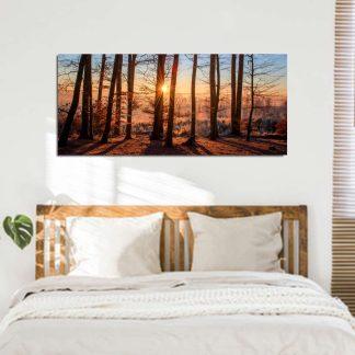 Πανοραμικος πινακας σε καμβα forest sunset