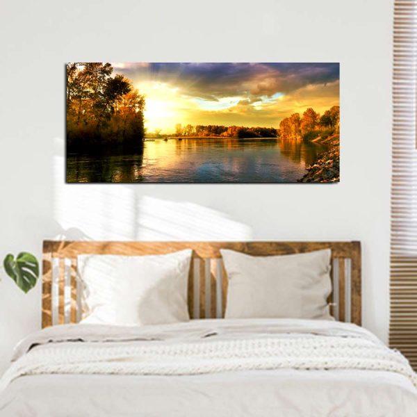 Πανοραμικος πινακας σε καμβα sunset lake