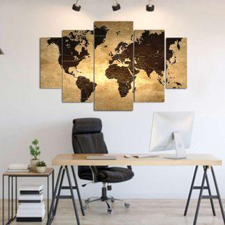 Πεντάπτυχος πίνακας σε καμβά world map x