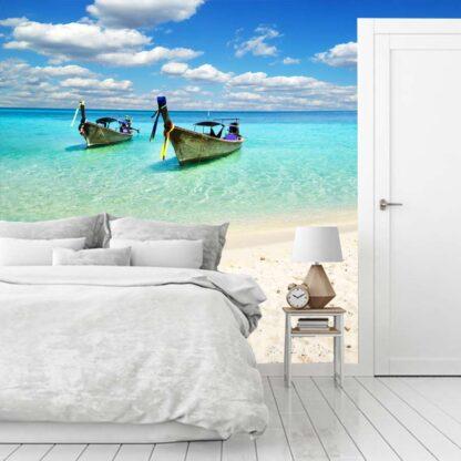 Ταπετσαρια τοιχου βάρκες στην παραλία