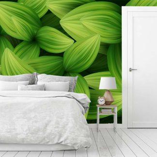 Ταπετσαρια τοιχου πράσινα φύλλα