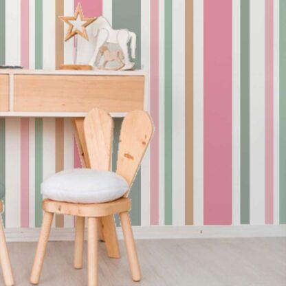 Ταπετσαρια τοιχου ρηγες ροζ λευκο χακι