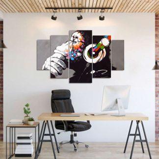 Πεντάπτυχος πίνακας σε καμβά χιμπαντζης banksy